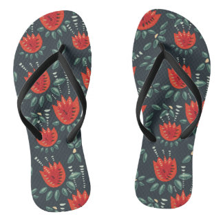 Decorative Abstract Red Tulip Dark Floral Pattern Flip Flops