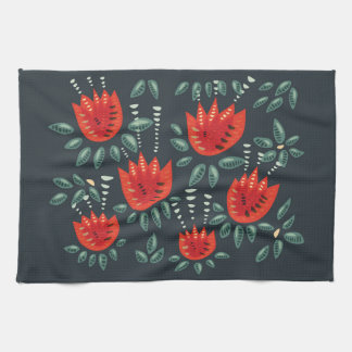 Decorative Abstract Red Tulip Dark Floral Pattern Kitchen Towel