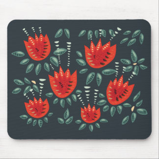 Decorative Abstract Red Tulip Dark Floral Pattern Mouse Pad