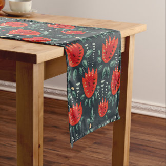 Decorative Abstract Red Tulip Dark Floral Pattern Short Table Runner