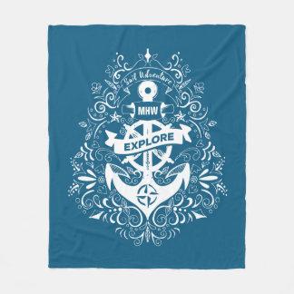 Decorative Anchor custom monogram fleece blanket