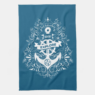 Decorative Anchor custom monogram hand towel