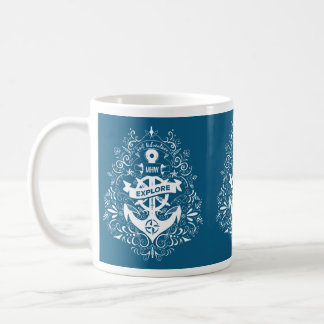 Decorative Anchor custom monogram mugs