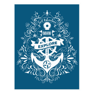 Decorative Anchor custom monogram postcard