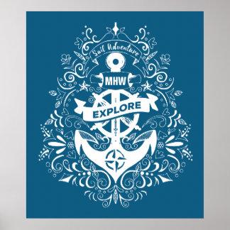 Decorative Anchor custom monogram poster