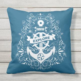Decorative Anchor custom monogram throw pillows