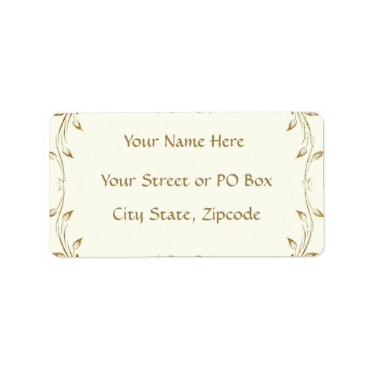 Decorative Antique Gold Border Wedding Label