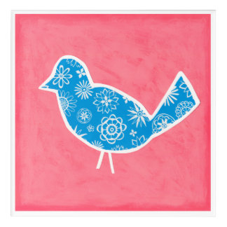 Decorative Bird with Patterns on Pink Background Acrylic Print