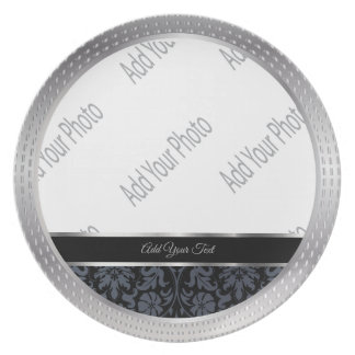 Decorative Black Damask and Silver Keepsake Plate