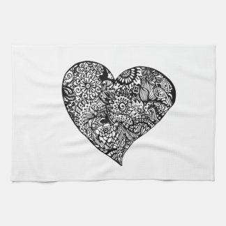 Decorative Black Heart Kitchen Towel