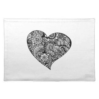 Decorative Black Heart Placemat