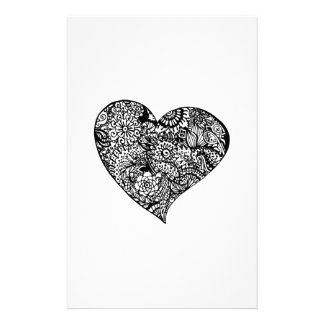 Decorative Black Heart Stationery