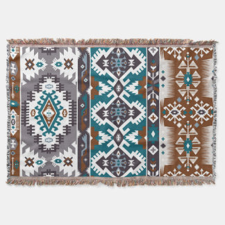 Decorative blanket.Colorful pattern in aztec style Throw Blanket