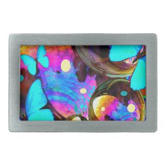 Decorative blue butterflies & iridescent bubbles rectangular belt buckle