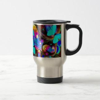 Decorative blue butterflies & iridescent bubbles travel mug
