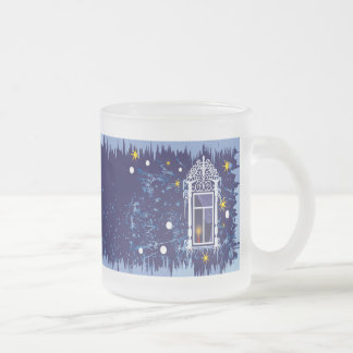 Decorative blue Christmas cup Frosted Glass Mug