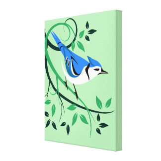 Decorative Blue Jay Art Canvas Print