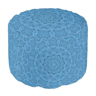 Decorative Blue Vintage  Colorful Round Pouf