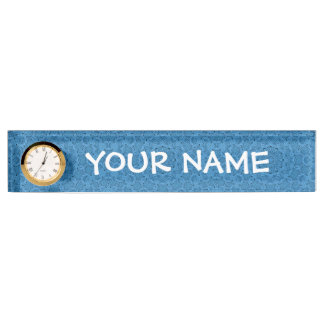 Decorative  Blue Vintage Desk Nameplate with Clock