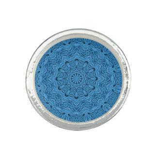 Decorative Blue Vintage Kaleidoscope  Custom Rings