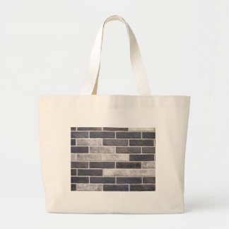 Decorative brickwork of white and black bricks large tote bag