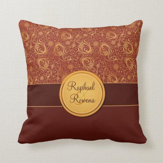 Decorative Burgundy & Gold Monogram Throw Pillow