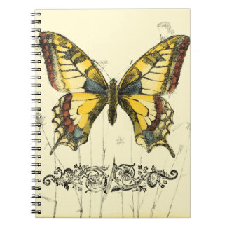 Decorative Butterfly with Wildflowers Spiral Notebook