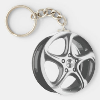 Decorative Car Rim Basic Round Button Keychain