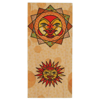 Decorative Celestial Suns Wood USB Flash Drive