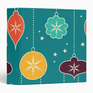 Decorative Christmas Colorful Ornaments on Blue 3 Ring Binders