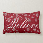 Decorative Christmas Snowflake Believe Holiday Lumbar Pillow