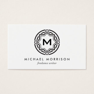 DECORATIVE CIRCLE LOGO with YOUR INITIAL B & W Business Card