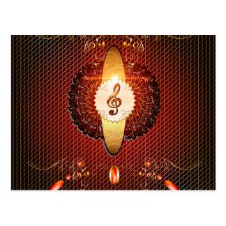Decorative clef on elegant background postcard