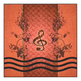Decorative clef with roses an metal background