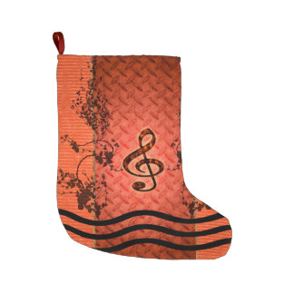 Decorative clef with roses large christmas stocking