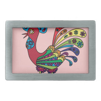 Decorative colored rooster belt buckles