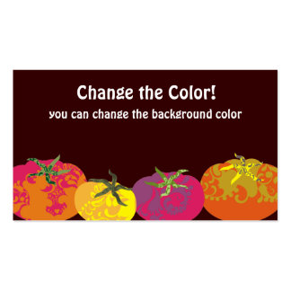 Decorative colorful tomatoes chef catering business cards