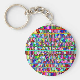Decorative Colors Basic Round Button Keychain