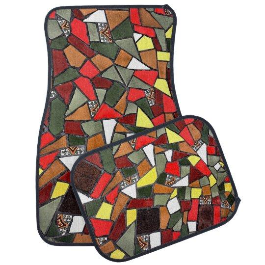 Decorative Cracked Ceramic Tile Set of 4 Car Mats Car Liners