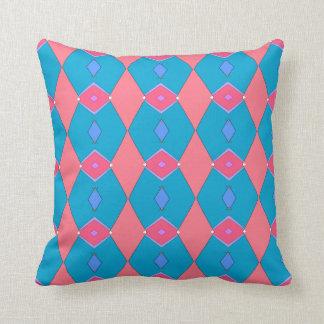 Decorative cushion, blue céruléen and pink, throw pillow