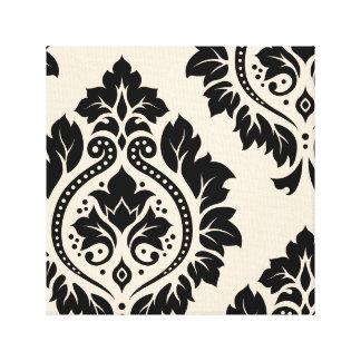 Decorative Damask Art I – Black on Cream Stretched Canvas Prints