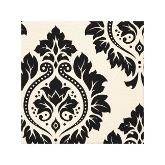 Decorative Damask Art I – Black on Cream Canvas Print