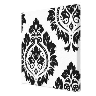 Decorative Damask Art I – Black on White Gallery Wrapped Canvas