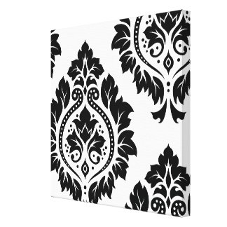 Decorative Damask Art I – Black on White Canvas Print