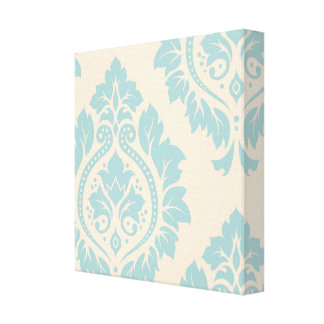 Decorative Damask Art I – Blue on Cream Stretched Canvas Prints