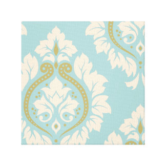 Decorative Damask Art I – Cream & Gold on Blue Canvas Print