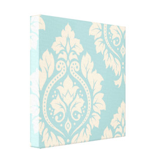 Decorative Damask Art I – Cream on Blue Canvas Print