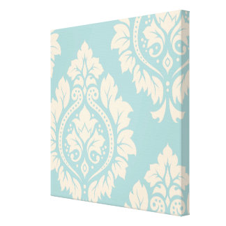 Decorative Damask Art I – Cream on Blue Gallery Wrapped Canvas