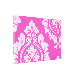 Decorative Damask Art I crop – Light on Dark Pink Canvas Print