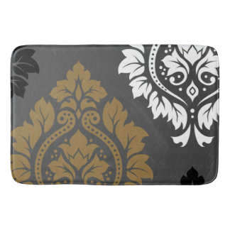 Decorative Damask Art I Gold Black White on Grey Bathroom Mat